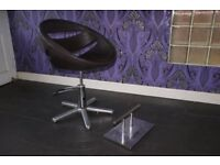 Adjustable, Hairdressing Chair. With chrome foot stool.