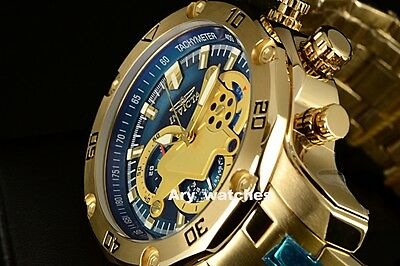 Invicta 48mm Pro Diver Scuba Blue Dial Chronograph 18k Gold SS Bracelet watch