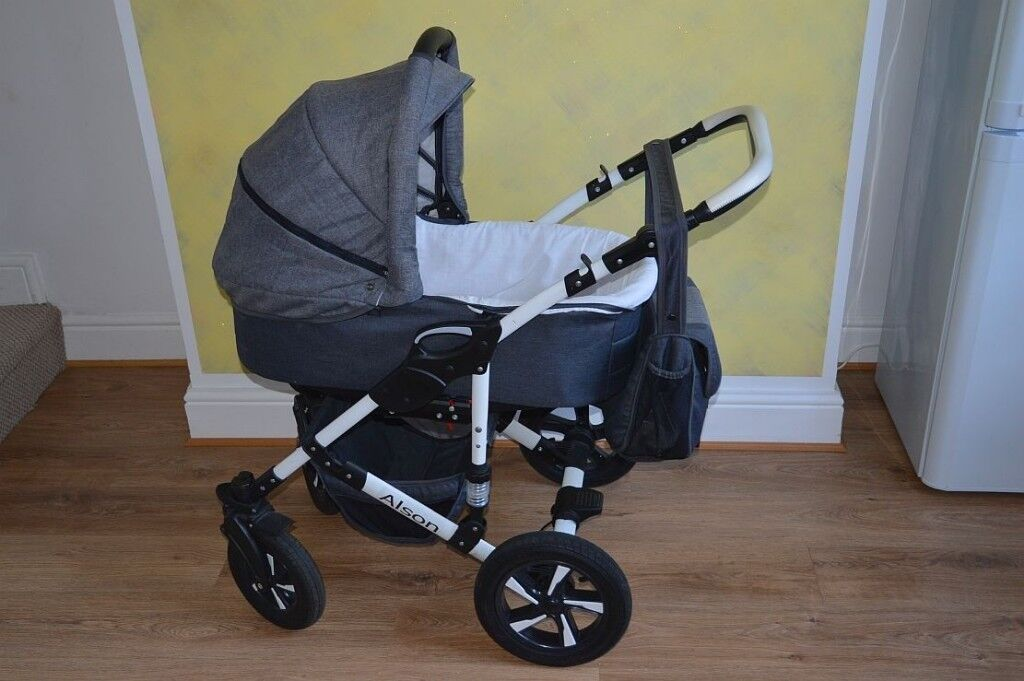 1fc80ad2e Alson Baby Pram Pushchair Buggy Stroller + Car Seat Travel System 3 in 1