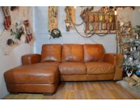 Chesterfield Vintage Distressed Leather Corner Sofa Couch Tan