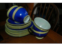 Vintage PALT blue & yellow 4 cups, 6 saucers 7 teaplates and bowl