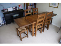 Dining table and chairs suite - solid oak - with extensions - wesley barrell