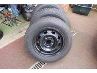 3 x steel wheels with excellent tyres et18 4x 108 185/70/14 citroen peugeot