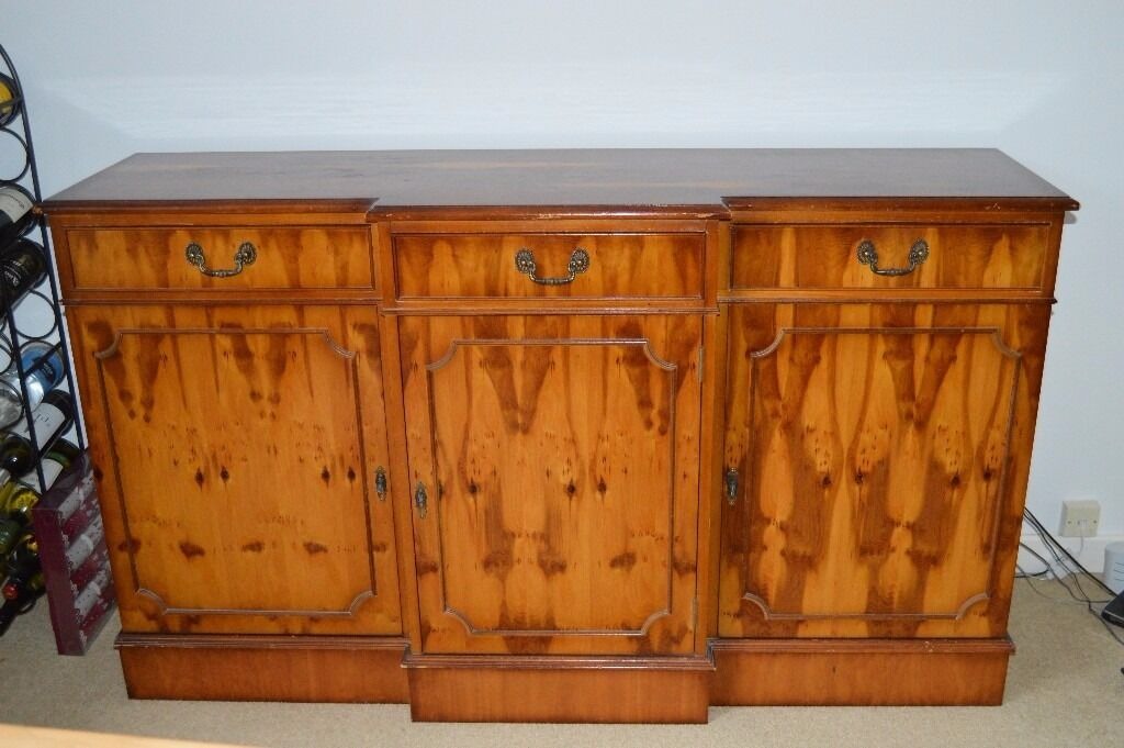 Reproduction Sideboard in yew finish, manufactured by Lexterten