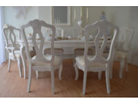 *** WOW *** UNIQUE & BEAUTIFUL !!! *** French Antique Shabby Chic Dining Table & Six Chairs !!!