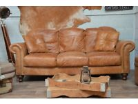 Vintage Leather 3 Seater Sofa Couch Tan Studs