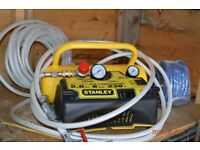 stanley air compressor 5.0 ltr-8 bar-230v 2 nail guns -screwdriver 2paint spray guns spare hoses