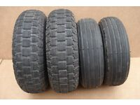 Mobility scooter tyres hardly used plus inner tubes 300 x 4 (260 x 85) and 410/350 x 5
