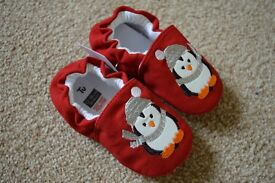 Baby Christmas shoes / slippers - Red penguin design. Age 12 - 18 months. BRAND NEW