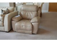 Full Beige Leather Electric Power Reclining Chair