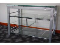 TV Stand in glass & Chrome plenty of shelves