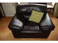 Armchairs and footstool Barletta Italian Brown Leather
