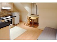 #A Roomy self-contained studio/open plan kitchen has excellent transport links -With Utility Bills #