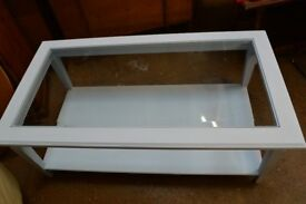 Light Blue Painted Coffee Table with Glass Insert