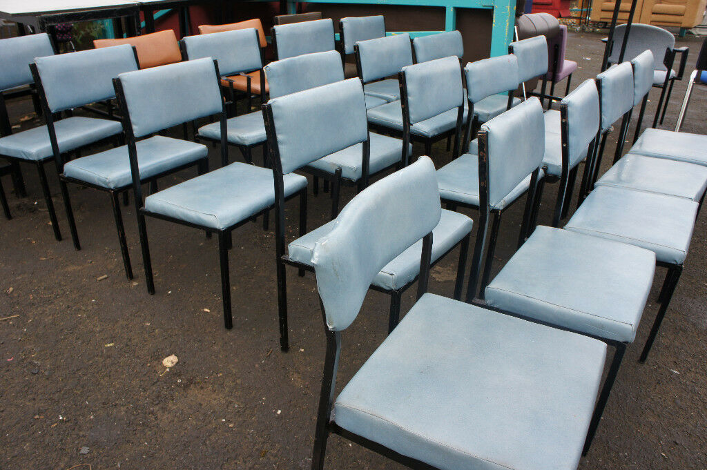 Light blue leather chairs (x18 in stock)