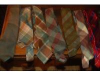 Vintage ties mainly wool brown and cream, 1 red silk tie