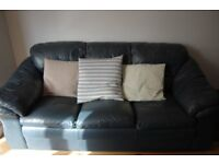Blue Leather 3 seater sofa and armchair