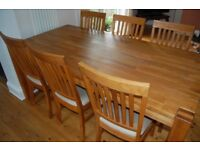 Oak dining table and 6 chairs, originally bought from Fairway Furniture