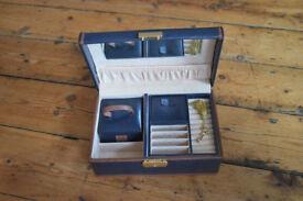 Leather jewellery box blue and brown
