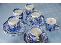 Spode Blue Italian coffee cups and saucers