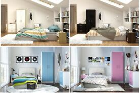 *WOW*BIG SALE* BRAND NEW 3 piece Bedroom HIGH GLOSS Set Oak White Pink Blue Children