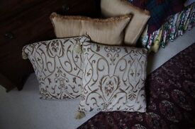 "Pair of 18"" square Off White/Gold large Cushions."