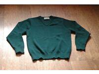 Albyn Girls School Uniform: green v-neck jumper, summer skirt, tie, scarf