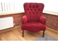 Red wing back armchair