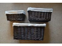 Set of 3 Dark Brown Stacking Baskets with Cream Liners