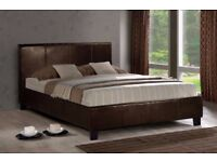 🔴🔵AMAZING OFFER🔴🔵 NEW CONTEMPORARY LEATHER BED FRAME 4FT 6 DOUBLE BED + MATTRESS BUMPER OFFER