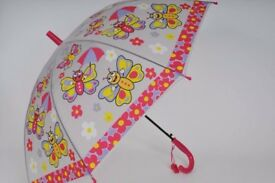 BUTTERFLY KIDS PINK BUG UMBRELLA CLEAR PVC DOME DESIGN WITH TOY WHISTLE - GIRL