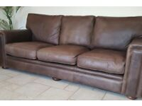 Beautiful Soft Brown Leather sofa and chair for sale