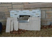 Marble fireplace, mantle and hearth