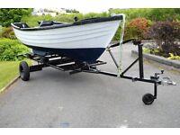 15' Simulated clinker GRP boat on break-back road trailer