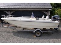 DELL QUAY EUROSPORT 15 SPORTS/FISH BOAT, YAMAHA 75HP PRO OUTBOARD & ROLLER TRAILER