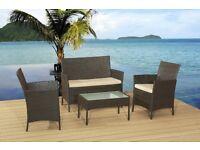 BRAND NEW 4Pc 4 Piece BROWN Rattan Garden Furniture Sofa Chair Table Set Outdoor WICKER