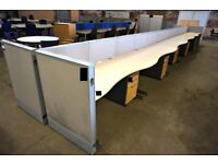Light oak effect 12-person Desk cluster comprising 12 wave front desks 1600mm x 800mm, 12 mobile 3-