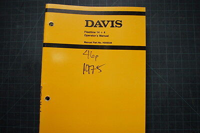 Case Davis Fleetline 14 4 Trencher Operation Maintenance Manual Operator Book