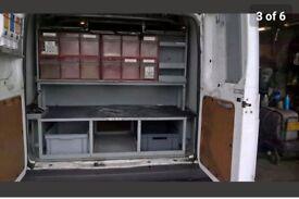 Bristol ex Bt openreach van shelving/racking out of a transit