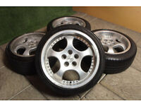"Genuine Aluett 17"" Alloy wheels 5x100 Polo Fabia A3 Beetle Ibiza Golf Bora TT Stance Alloys"