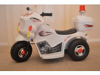 Kids Police Electric Bike Childs Ride On Battery Buggy Boys Motorbike New WHITE