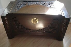 Vintage oriental carved linen box chest - camphor wood with ornate carving