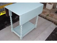 solid oak drop leaf table barley twist legs up cycled shabby chic duck egg blue chalk paint