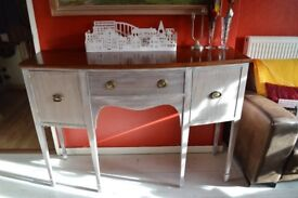 Mid Century Regency style sideboard, hall table, vintage server buffet, bow fronted console c. 1940.