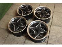"""Genuine Calibre Retrostar 15"""" Alloy wheels 4x100 Eunos Mx5 Clio Corsa Yaris Civic Golf Polo Alloys"""