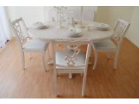 !!! WOW !!! *** GREAT DEAL*** !!! BEAUTIFUL SHABBY CHIC DINING TABLE AND FOUR CHAIRS !!!