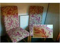 Two material pink and creme chairs