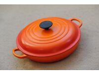 Le Creuset Cast Iron Shallow Casserole Dish 26cm, Volcanic Orange!