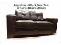 Practically New Faux :eather 2 Seater Sofa £75 ONO