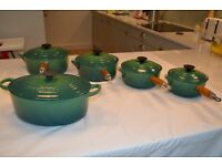 LE CREUSET SAUCEPANS AND CASSEROLE WITH LIDS IN TWO-TONE GREEN